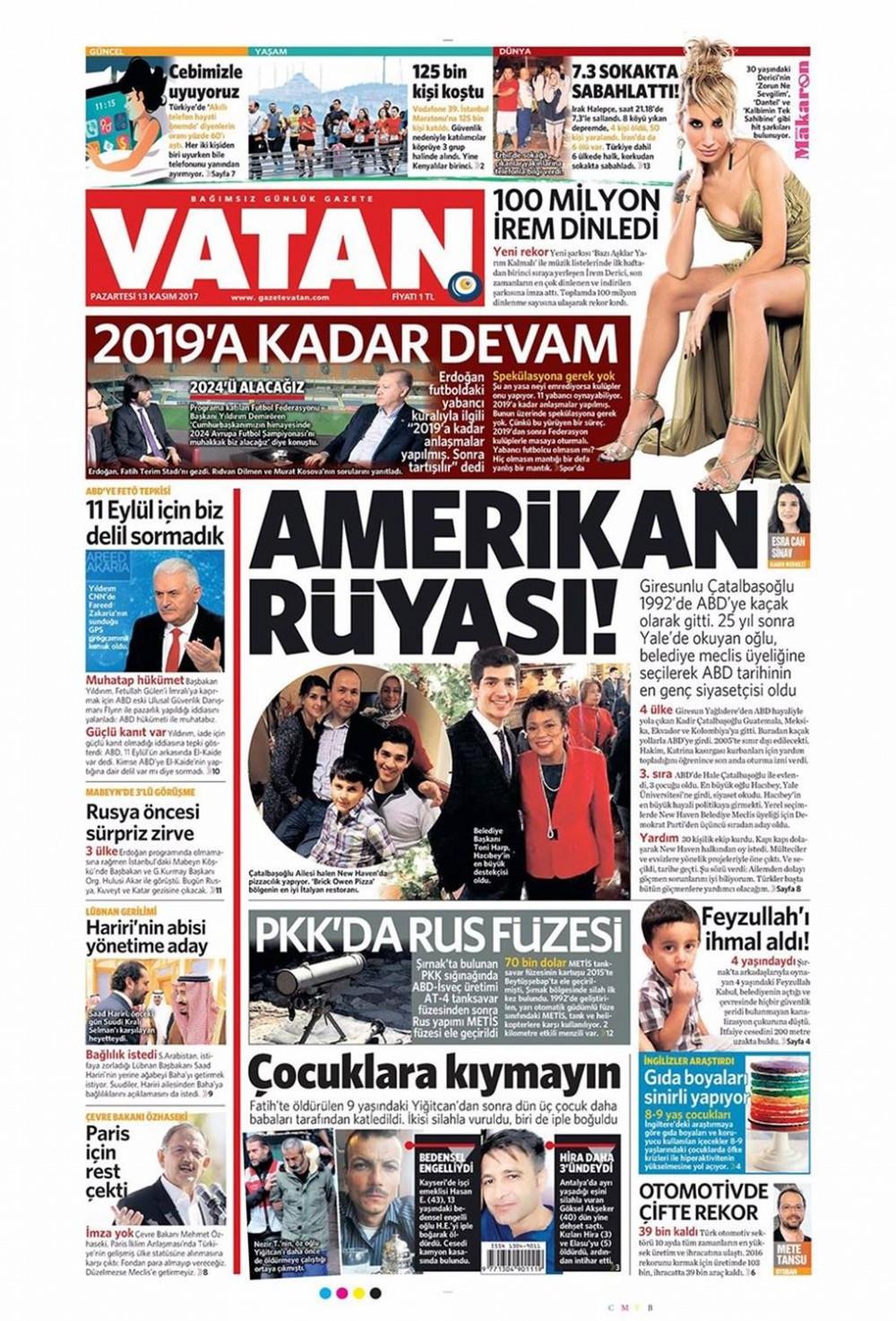 Günün gazete manşetleri (13 Kasım 2017)