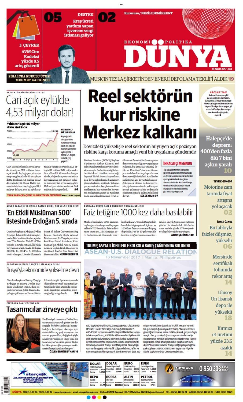 Günün gazete manşetleri (14 Kasım 2017)