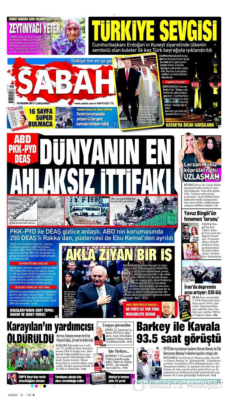 Günün gazete manşetleri (15 Kasım 2017)