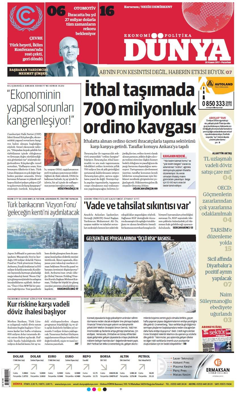 Günün gazete manşetleri (20 Kasım 2017)