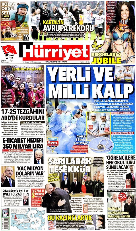Günün gazete manşetleri (22 Kasım 2017)