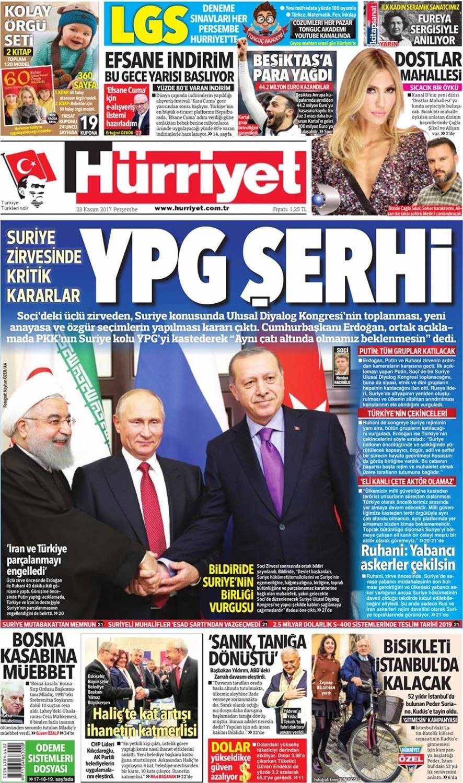 Günün gazete manşetleri (23 Kasım 2017)