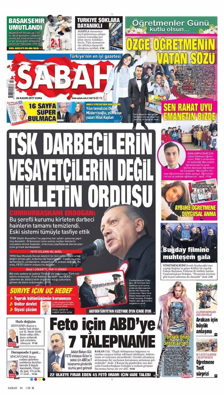 Günün gazete manşetleri (24 Kasım 2017)