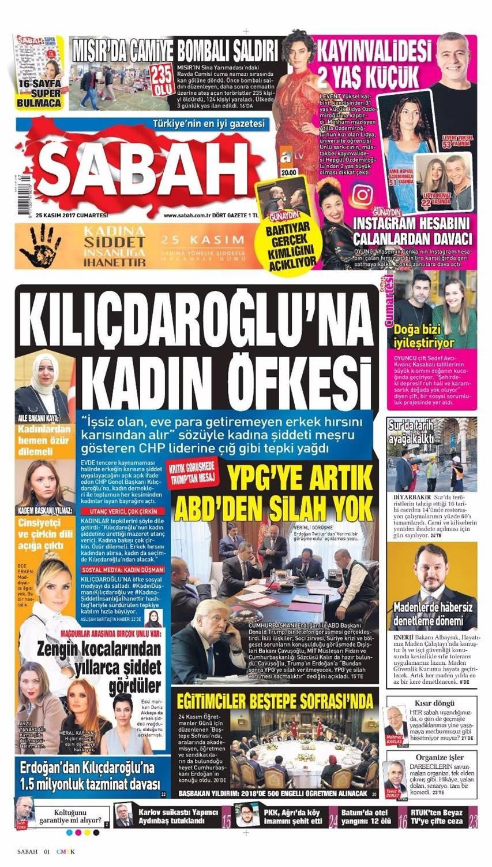 Günün gazete manşetleri (25 Kasım 2017)