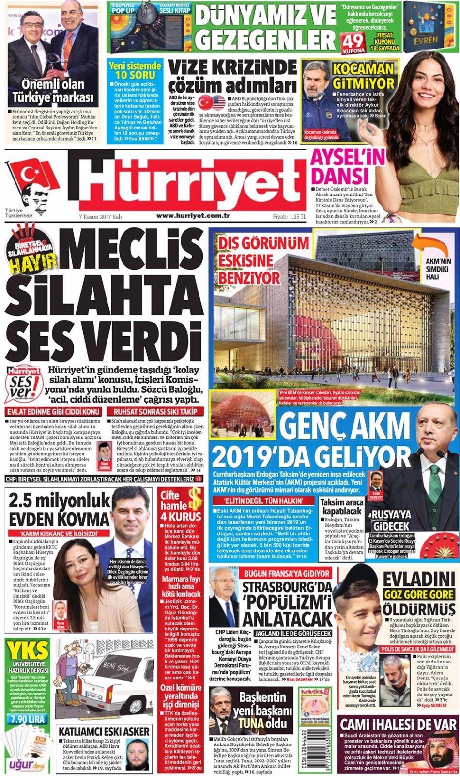 Günün gazete manşetleri (7 Kasım 2017)