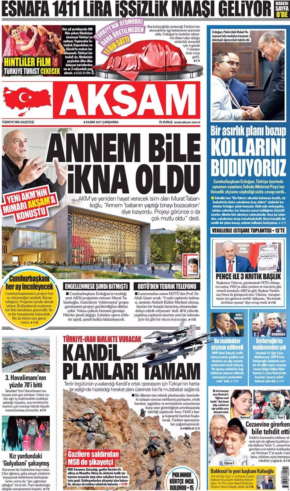 Günün gazete manşetleri (8 Kasım 2017)