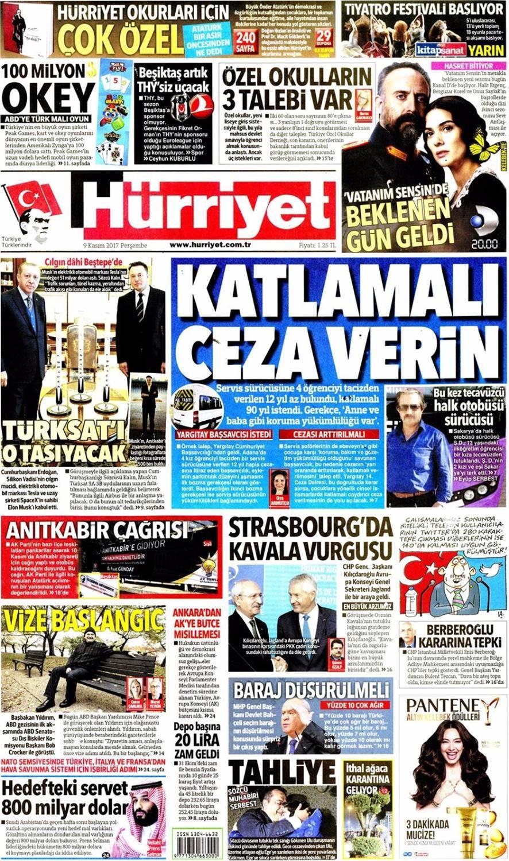 Günün gazete manşetleri (9 Kasım 2017)