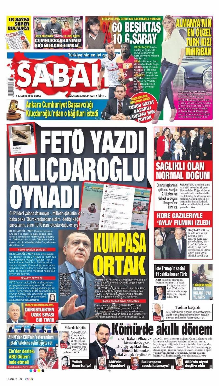 Günün gazete manşetleri (1 Aralık 2017)