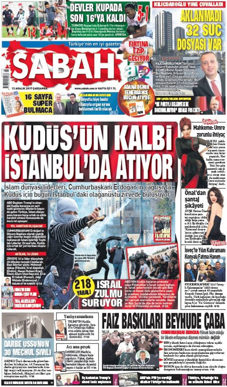 Günün gazete manşetleri (13 Aralık 2017)
