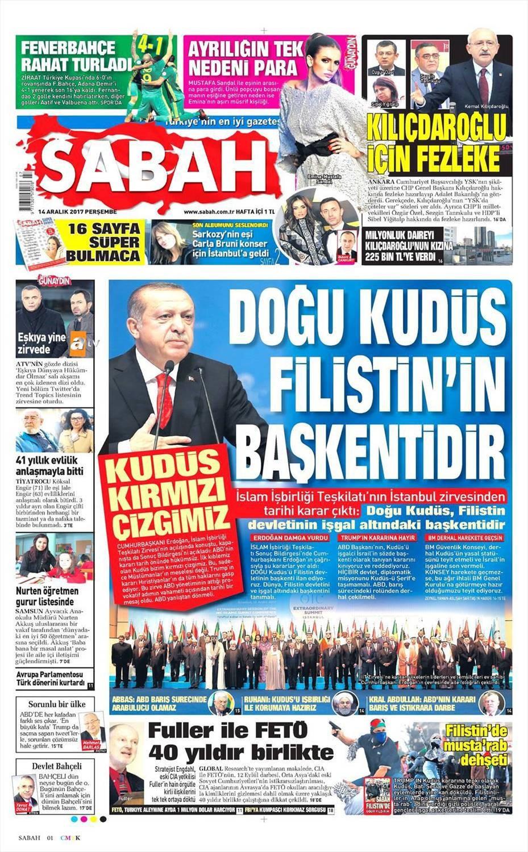 Günün gazete manşetleri (14 Aralık 2017)