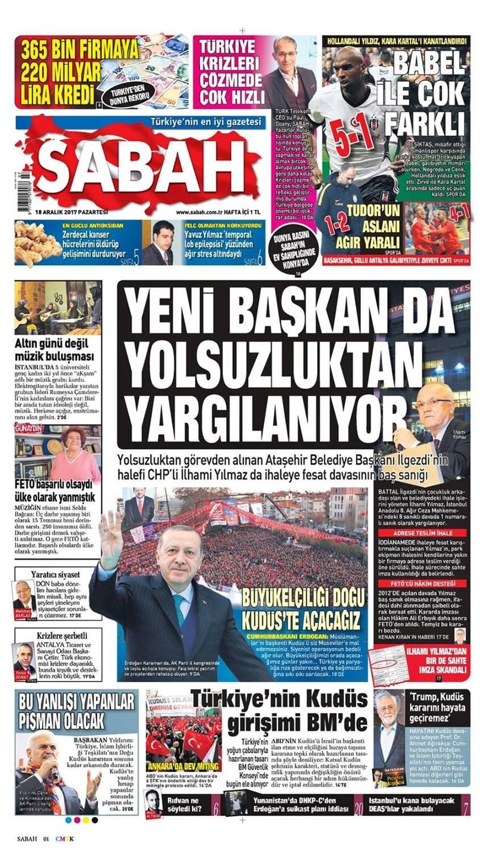Günün gazete manşetleri (18 Aralık 2017)