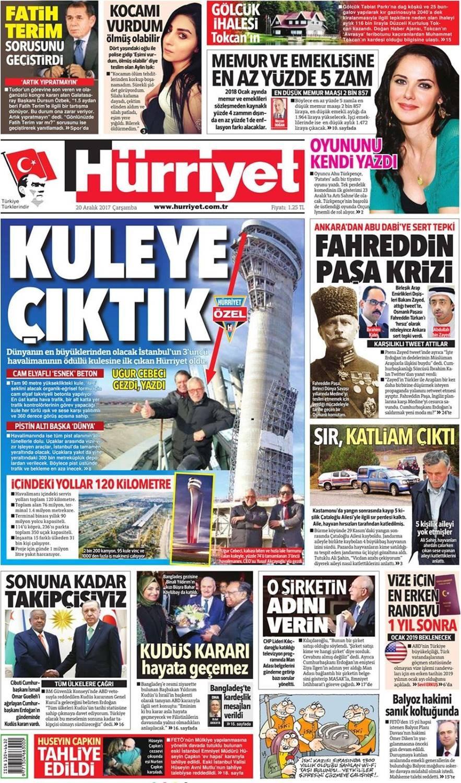Günün gazete manşetleri (20 Aralık 2017)