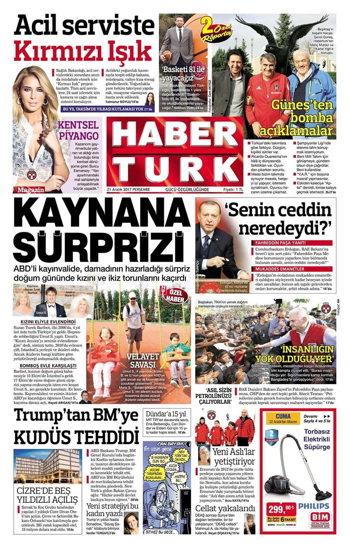 Günün gazete manşetleri (21 Aralık 2017)