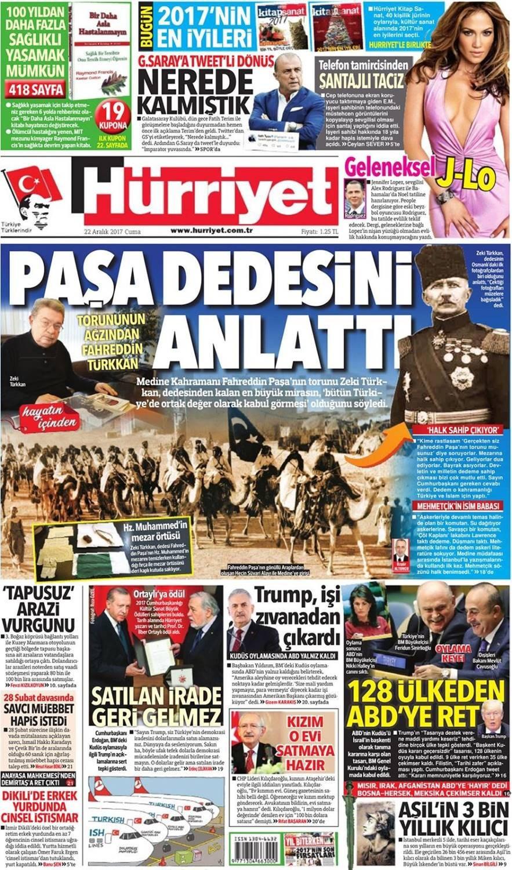 Günün gazete manşetleri (22 Aralık 2017)
