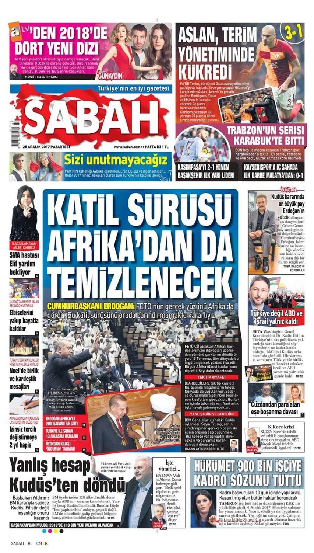 Günün gazete manşetleri (25 Aralık 2017)