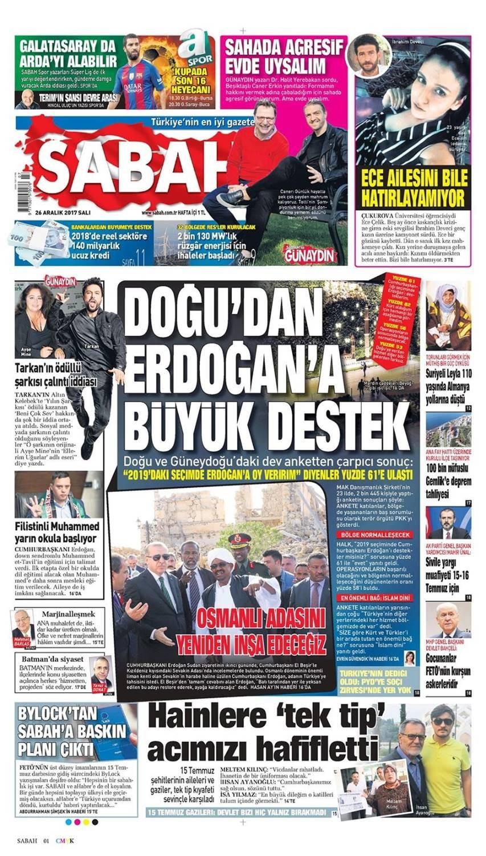 Günün gazete manşetleri (26 Aralık 2017)