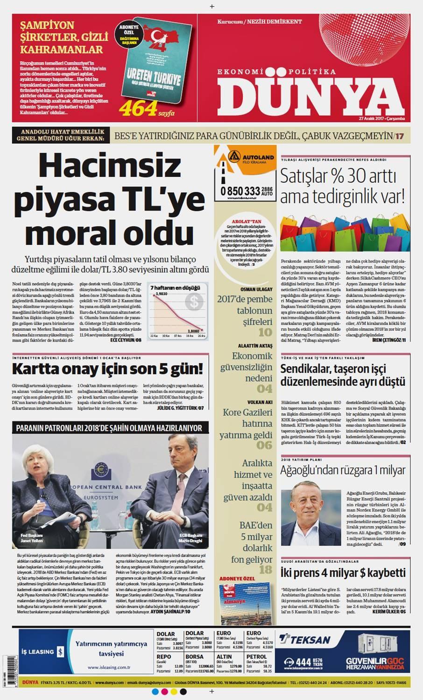 Günün gazete manşetleri (27 Aralık 2017)