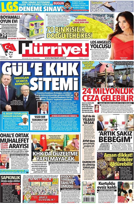 Günün gazete manşetleri (28 Aralık 2017)