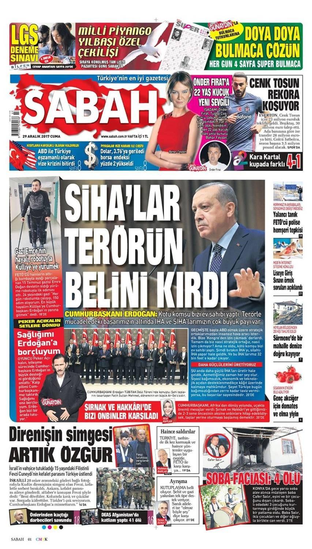 Günün gazete manşetleri (29 Aralık 2017)