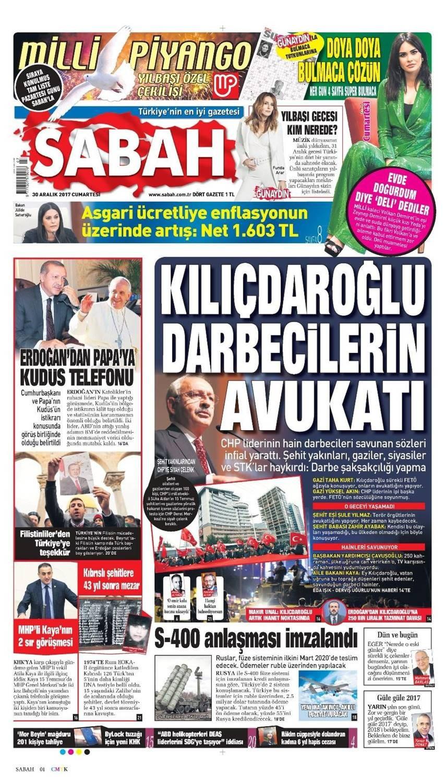 Günün gazete manşetleri (30 Aralık 2017)