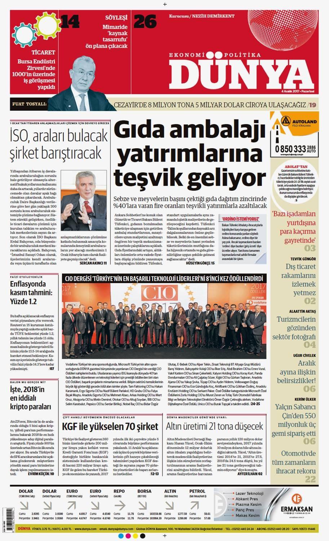 Günün gazete manşetleri ( 4 Aralık 2017)
