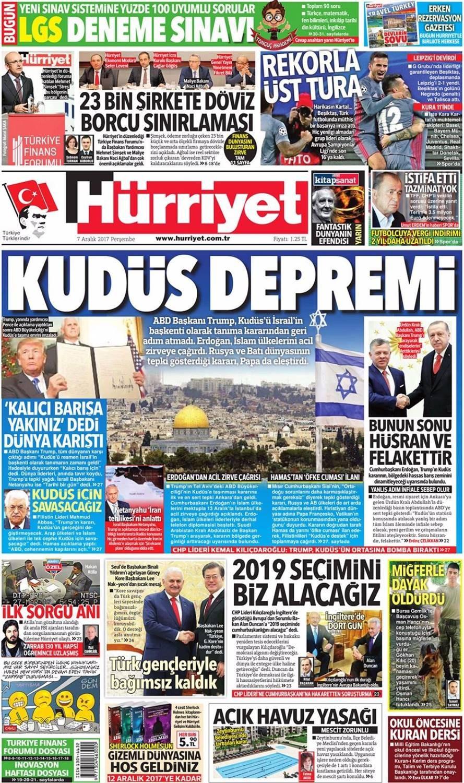 Günün gazete manşetleri (7 Aralık 2017)