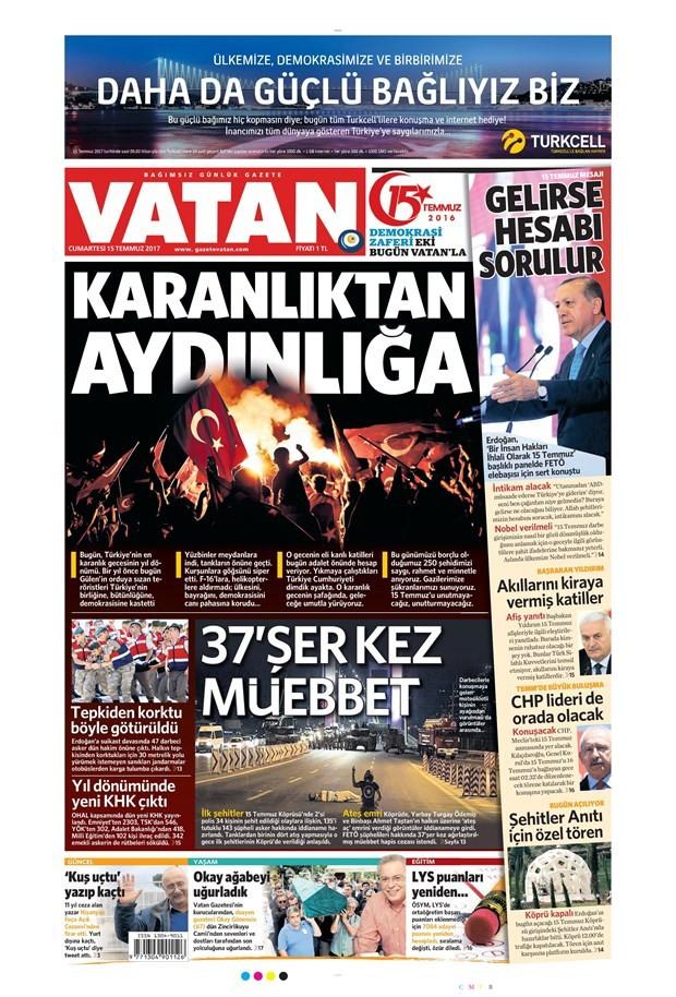 15 Temmuz gazete manşetleri - 15.07.2017