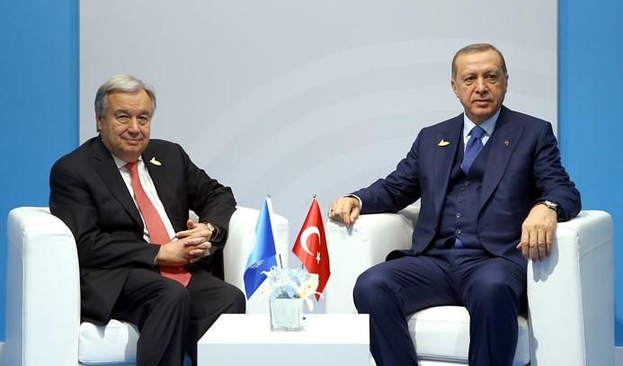 Erdoğan, Guterres ile bir araya geldi