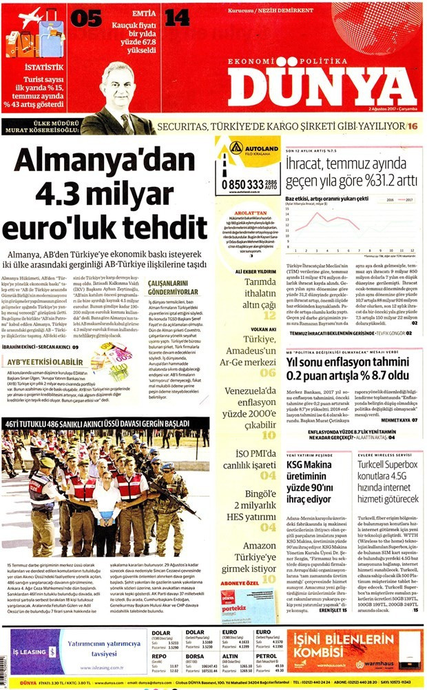 Günün gazete manşetleri - 2 Ağustos 2017
