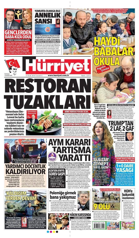 Günün gazete manşetleri (13 Ocak 2018)