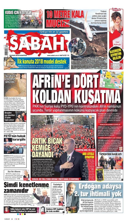 Günün gazete manşetleri (15 Ocak 2018)