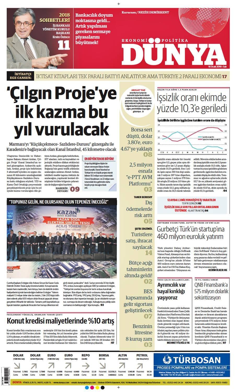Günün gazete manşetleri (16 Ocak 2018)