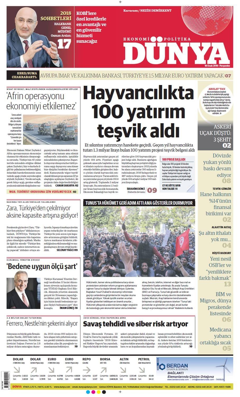 Günün gazete manşetleri (18 Ocak 2018)
