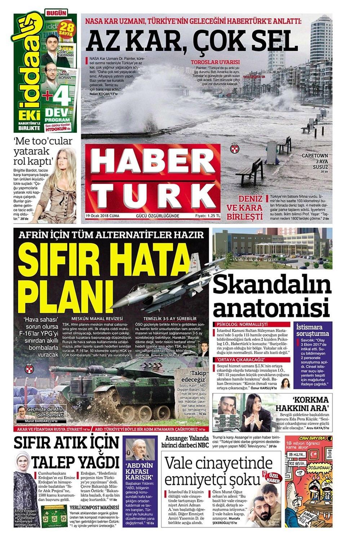 Günün gazete manşetleri (19 Ocak 2018)