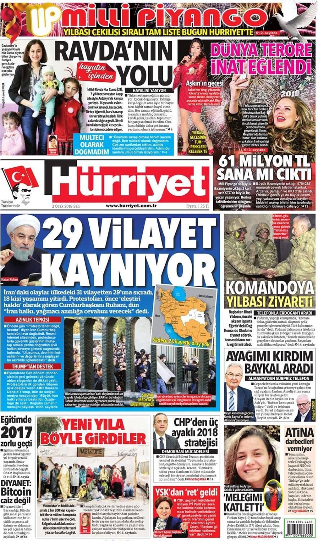 Günün gazete manşetleri (2 Ocak 2018)