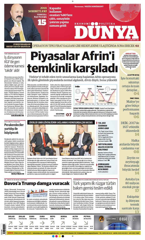 Günün gazete manşetleri (23 Ocak 2018)