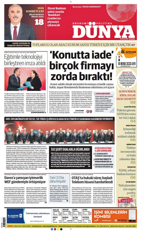 Günün gazete manşetleri (24 Ocak 2018)