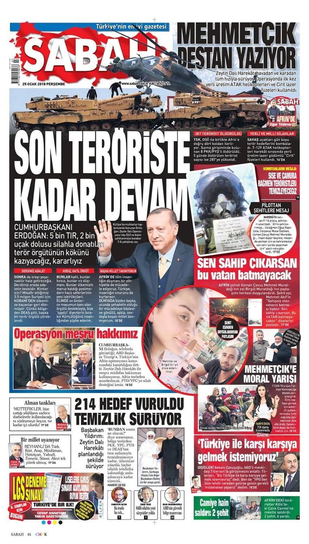 Günün gazete manşetleri (25 Ocak 2018)