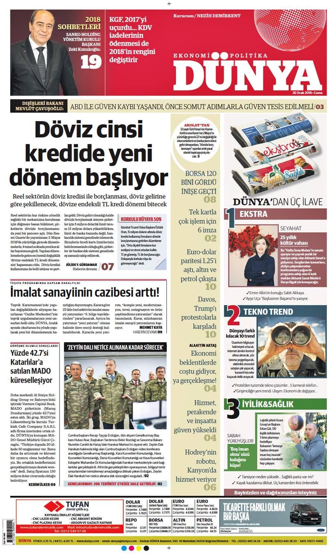 Günün gazete manşetleri (26 Ocak 2018)