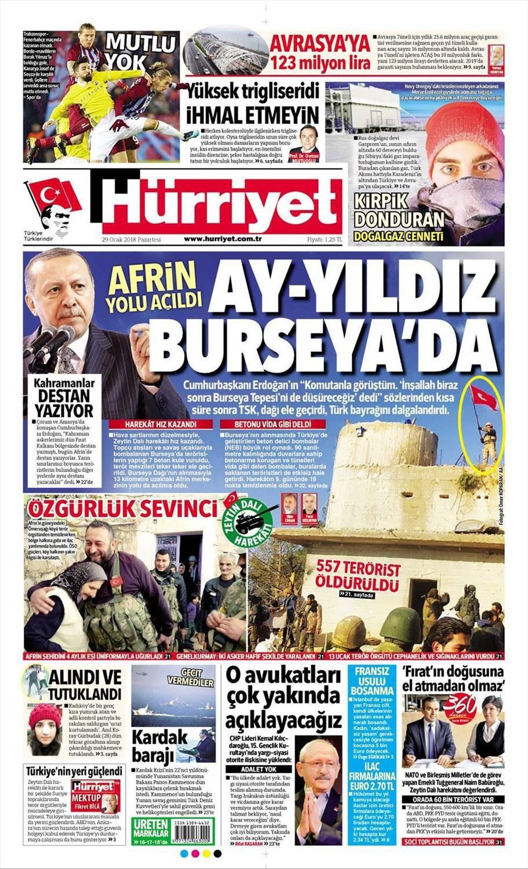 Günün gazete manşetleri (29 Ocak 2018)