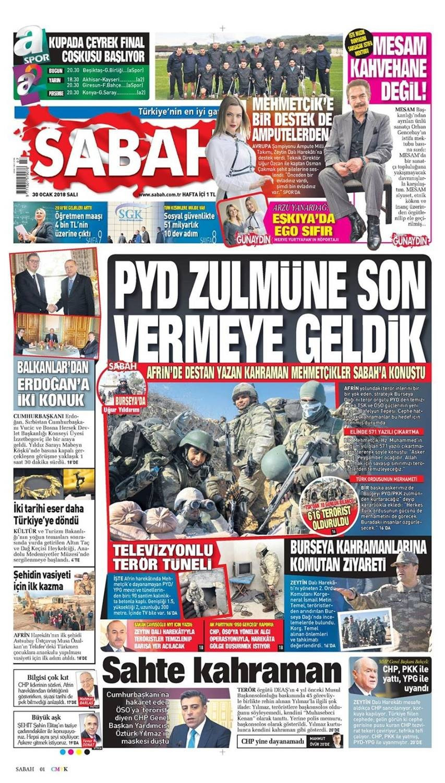 Günün gazete manşetleri (30 Ocak 2018)