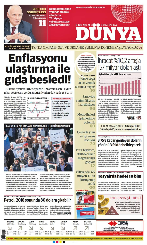Günün gazete manşetleri (4 Ocak 2018)