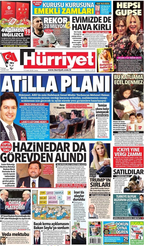Günün gazete manşetleri (5 Ocak 2018)