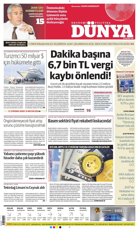 Günün gazete manşetleri (9 Ocak 2018)