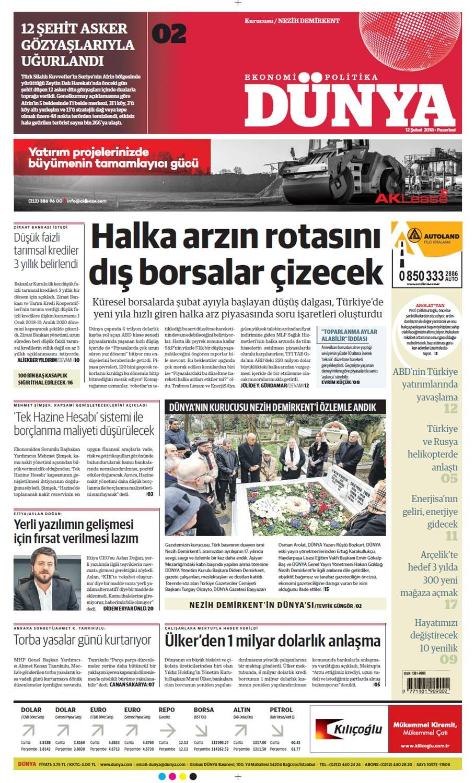 Günün gazete manşetleri (12 Şubat 2018)