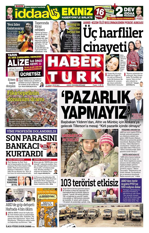 Günün gazete manşetleri (13 Şubat 2018)