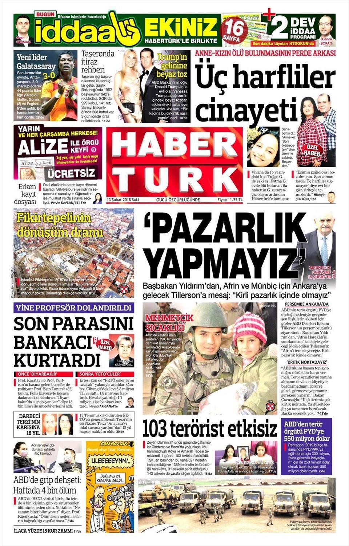 Günün gazete manşetleri (14 Şubat 2018)
