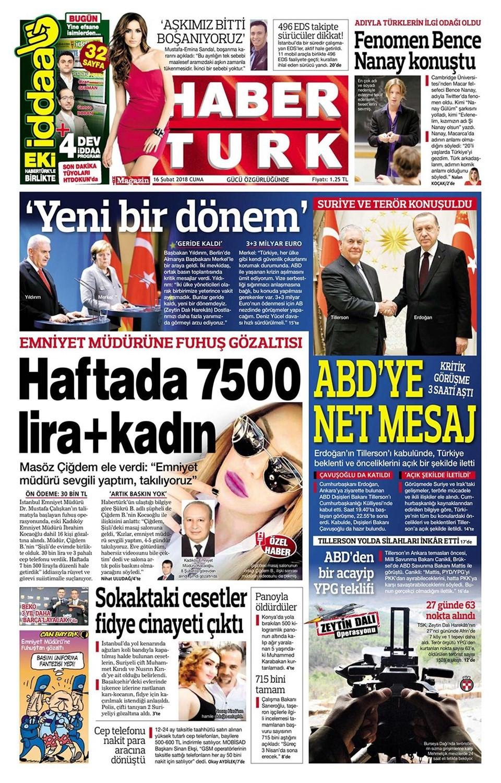 Günün gazete manşetleri (16 Şubat 2018)