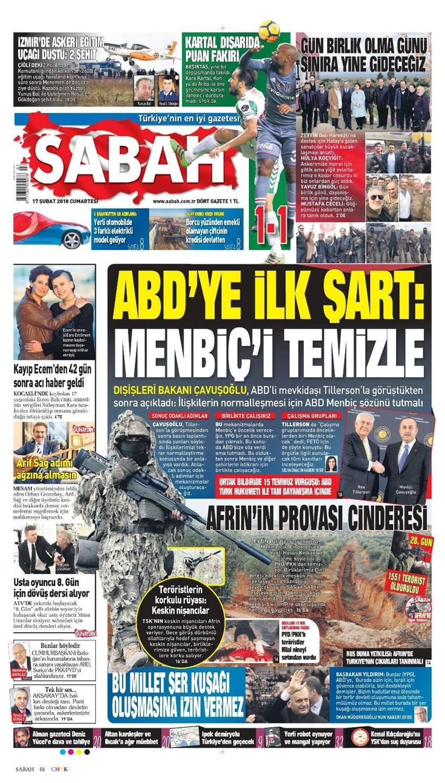 Günün gazete manşetleri (17 Şubat 2018)