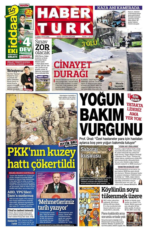 Günün gazete manşetleri (2 Şubat 2018)